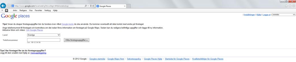 Gammal Google Places lägg till telenummer